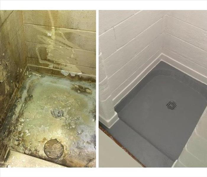 shower with mold on the right hand side, shower base with reconstructed base