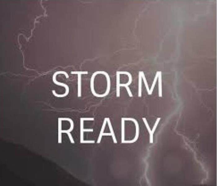 Lightning background with storm ready in text