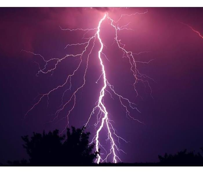 blue and purple sky with a lightning bolt in the center of the picture and trees in the background