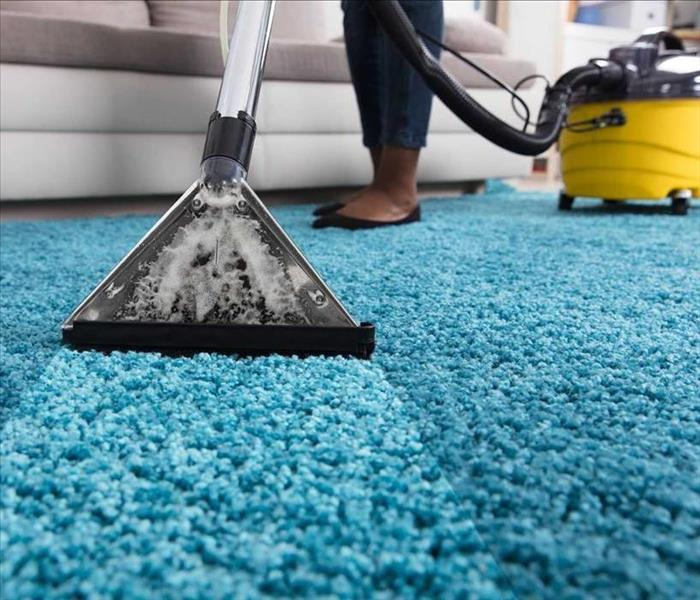 image of blue home carpet being cleaned