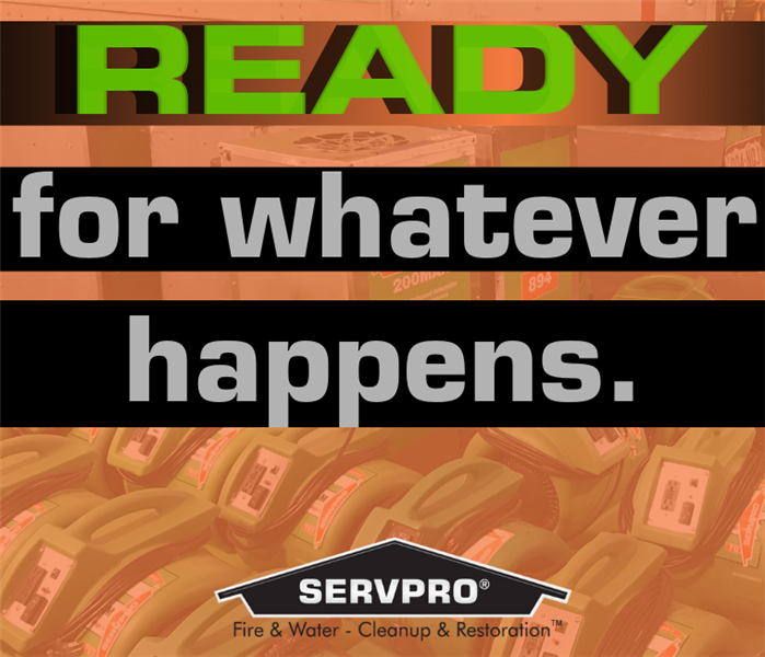 "Graphic with text ""ready for whatever happens"" in green text"