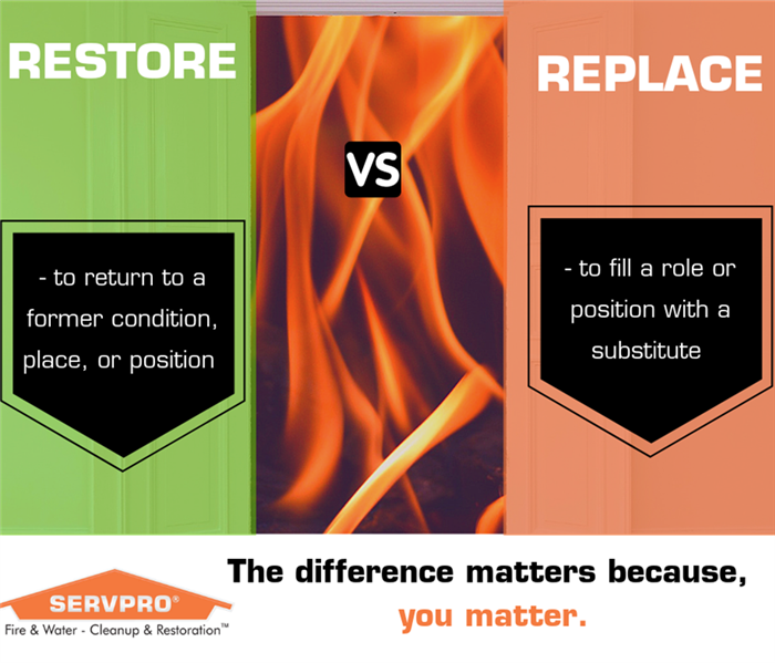graphic with orange and green background labeled, restore versus replace with fire background